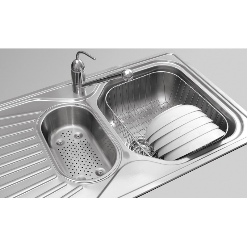 ... DOUBLE 1.5 BOWL DRAINER & WASTE STAINLESS STEEL SQUARE KITCHEN SINK