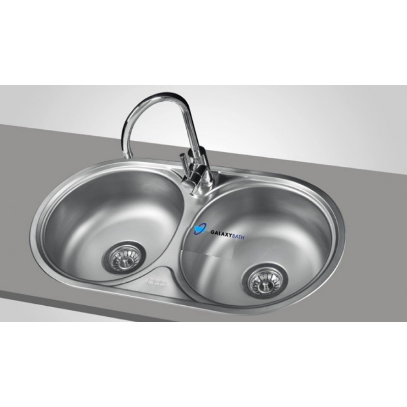 FRANKE STAINLESS STEEL KITCHEN ROUND SINK DOUBLE 2.0 BOWL INSET ...