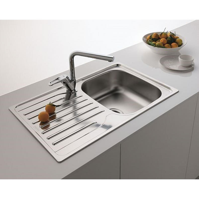 FRANKE STAINLESS STEEL LINEN KITCHEN SQUARE SINK SINGLE 1.0 BOWL INSET ...
