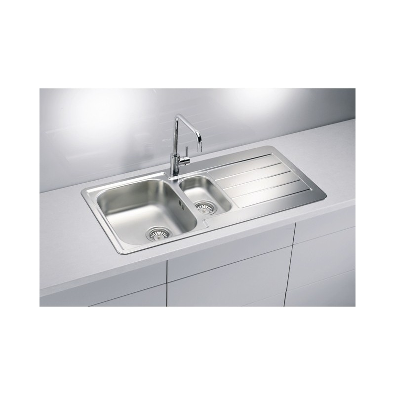 Alveus line 10 square inset 1 5 bowl drainer stainless - Square stainless steel bathroom sink ...
