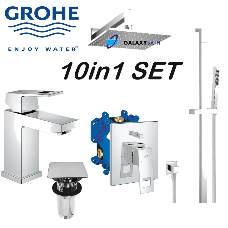 grohe omnires eurocube basin bath shower mixer kit