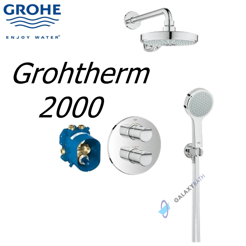grohe grohtherm 2000 new thermostatic rainshower mixer concealed power soul galaxy bath ltd. Black Bedroom Furniture Sets. Home Design Ideas