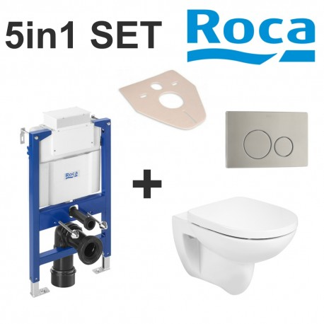 Roca 3in1 Set Debba Rimless Wc and Frame Bundle Flush Plate and Soft Closed Seat
