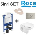 Roca 5in1 Set Debba Rimless Wc and Frame Bundle Flush Plate and Soft Closed Seat