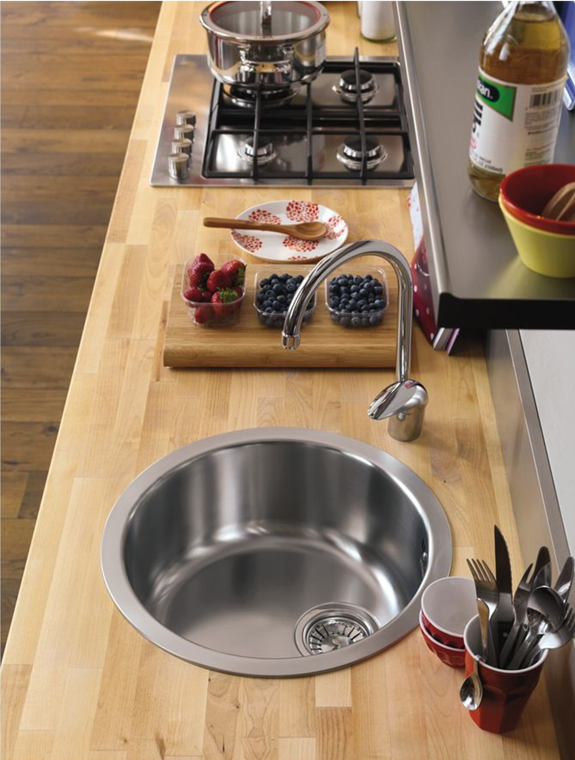Alveus Single 1.0 Bowl Inset Round Stainless Steel Kitchen
