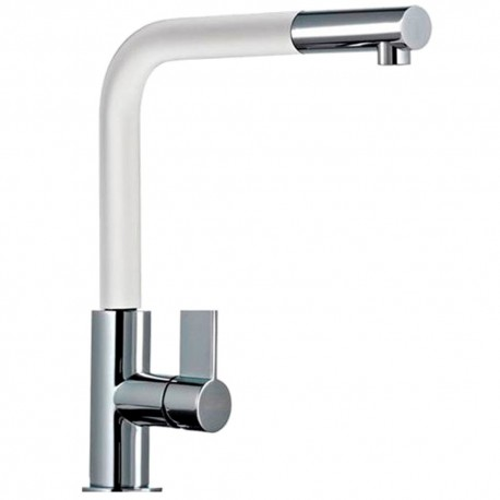 FRANKE NEPTUNE PULL OUT SPRAY CHROME/WHITE KITCHEN SINK MIXER TAP