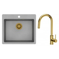 Quadron Morgan 110 GraniteQ Kitchen Sink With Jennifer Pull Out Tall Mixer Tap 2in1 Set Grey/Gold Finish