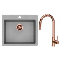 Quadron Morgan 110 GraniteQ Kitchen Sink With Jennifer Pull Out Tall Mixer Tap 2in1 Set Grey/Copper Finish