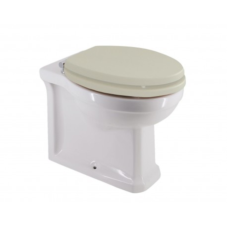 Holborn Back-to-Wall Toilet with Crema Wooden Quick-Release Seat