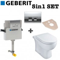 Geberit Delta 50 Concealed Toilet Cistern + Chrome Dual Flush + Essential Back to Wall LILY Toilet Pan With Soft Close Seat