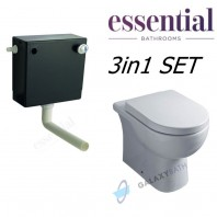 Essential GEM Concealed Cistern Dual Flush + Essential Lily Back to Wall Pan + Lily Toilet Seat & Cover 3in1 SET
