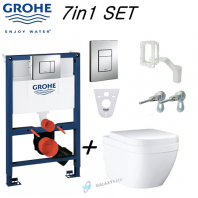 Grohe Rapid Sl 0.82m Wc Concealed Toilet Frame + Grohe Euro Ceramic L Rimless Wall Hung Toilet Pan With Soft Close Seat 7in1 Set