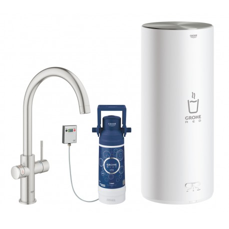 Grohe Red II Duo C Spout Tap & L Size Boiler SuperSteel