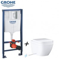 Grohe Rapid SL 3-in-1 set for WC 1.13m + Euro Ceramic WC Wall Hung + Soft Closed Seat