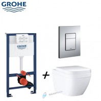 Grohe Rapid SL 3-in-1 set for WC + Euro Ceramic WC Wall Hung + Soft Closed Seat