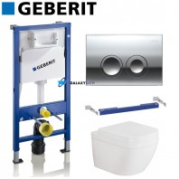 Geberit Duofix Up100 Wc Toilet Cistern Frame + Delta 50 Gloss Chrome + Grohe Euro Ceramic L Wc Rimless Wall Hung