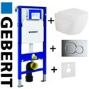 Geberit Duofix Wc Toilet Frame Up320 Sigma Cistern 3in1 + Sigma01 Flush Plate Chrome + Grohe Euro Ceramic L Wc Rimless Wall Hung