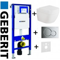 Geberit Duofix Wc Toilet Frame Up320 Sigma Cistern 3in1 + Sigma01 Flush Plate Chrome + Grohe Euro Ceramic S Wc Rimless Wall Hung