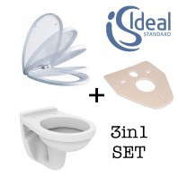 Ideal Standard Simplicity Wall Hung Toilet Pan + Soft Close Seat + Wc Bend 3in1