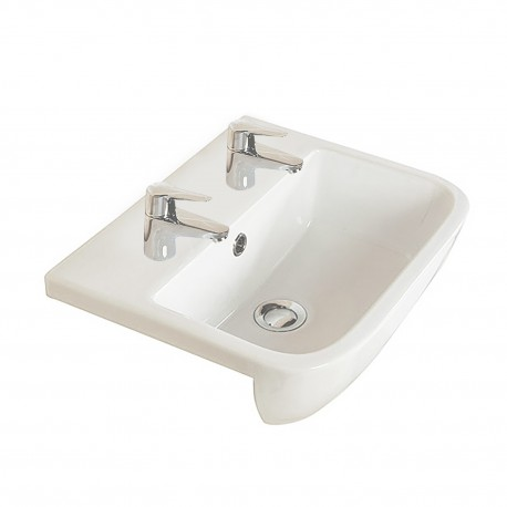 Rak Ceramics Series 600 420mm Semi-Recessed Basin - 2 Tap Holes