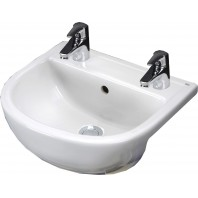 Rak Ceramics Compact 450mm Semi-Recessed Basin - 2 Tap Holes