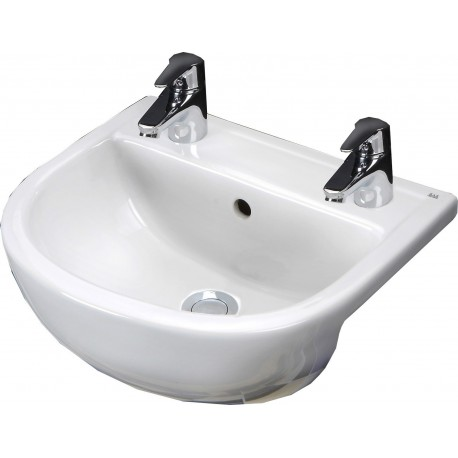 Rak Ceramics Compact 550mm Semi-Recessed Basin - 2 Tap Holes