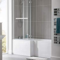 Essential Kensington L Shape Shower Bath Pack Left Handed 1700x850mm 0 Tap Holes White
