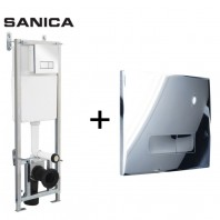 Sanica Dual Flush Concealed WC Cistern Wall Hung Frame + Dual Flush Plate