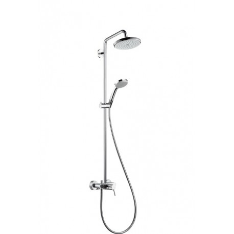 Hansgrohe Croma 220 Showerpipe single lever (manual valve) with swivelling shower arm