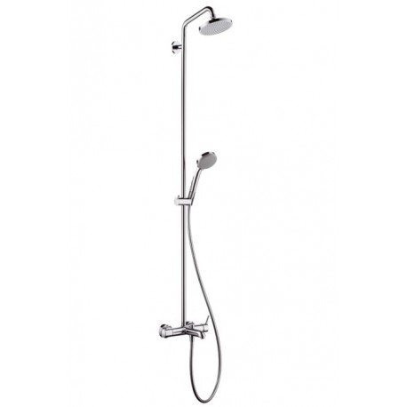 Hansgrohe Croma 100 Showerpipe for bath tubs EcoSmart single lever mixer