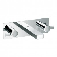 Flova STR8 Concealed Wall Mounted Double Lever Basin Mixer with Clicker Waste