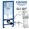 Grohe Rapid Sl Concealed Wall Hung Wc Frame + Dual Flush Plate Chrome Matt+ Fresh System + Wall Brackets + Wc Bend 5in1 Set