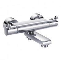 Flova Essence Exposed Thermostatic Bath & Shower Mixer with Diverter Spout