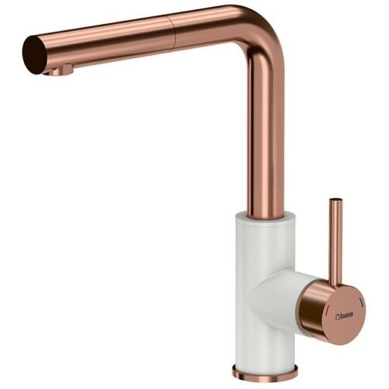 Brass pull out kitchen mixer tap