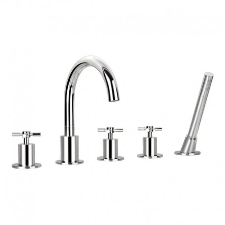 Flova XL 5 Hole Deck Mounted Bath Shower Mixer with Pull Out Handset
