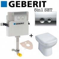 Geberit Delta 21 Concealed Toilet Cistern + Essential VIOLET Back To Wall Toilet Pan With Soft Close Seat 2in1 Set