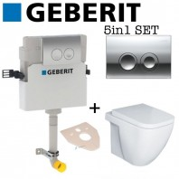 Geberit Delta 21 Concealed Toilet Cistern + Essential FUCHSIA Back To Wall Toilet Pan With Soft Close Seat 5in1 Set
