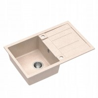 Quadron Morgan 111 Granite 1.0 Bowl Kitchen Sink With Drainer Beige Stainless Steel Finish