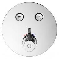 Flova Levo Go Click 2 Button Trim Kit - Round Plate with 2 Button Thermostatic Concealed Valve
