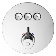 Flova Levo Go Click 3 Button Trim Kit - Round Plate with 3 Button Thermostatic Concealed Valve