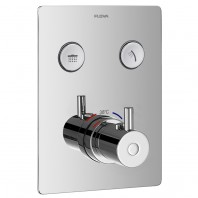 Flova Levo Go Click 3 Button Trim Kit - Square Plate with 3 Button Thermostatic Concealed Valve