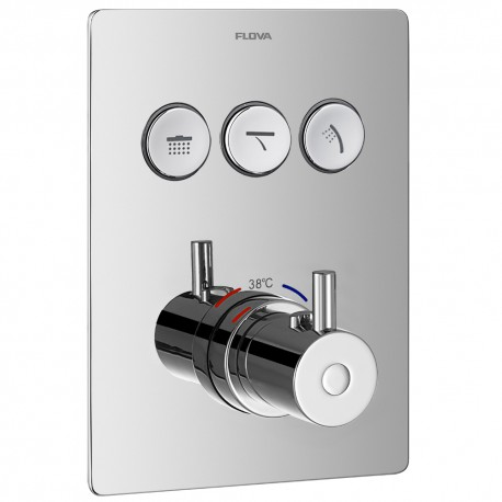 Flova Levo Go Click 2 Button Trim Kit - Square Plate with 2 Button Thermostatic Concealed Valve
