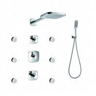Flova Urban Concealed Thermostatic Mixer Valve Set with Dual Function Overhead Shower, Body Jets & Handset Kit