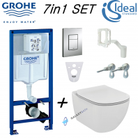 Grohe Rapid Sl Wc Frame + Ideal Standard Tesi Aquablade Wall Hung Toilet Pan With Soft Close Seat