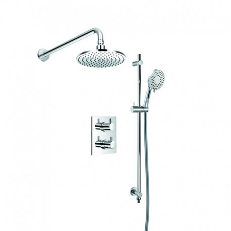 Flova Levo Concealed Thermostatic Mixer Valve with Overhead Shower & Multi-Function Slide Rail Kit