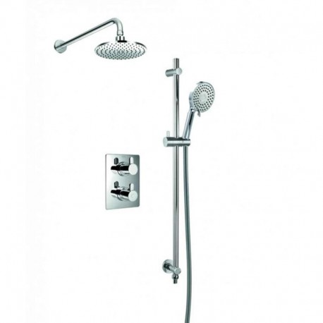 Flova Essence Concealed Thermostatic Shower Mixer with Overhead Shower & Slide Rail Kit