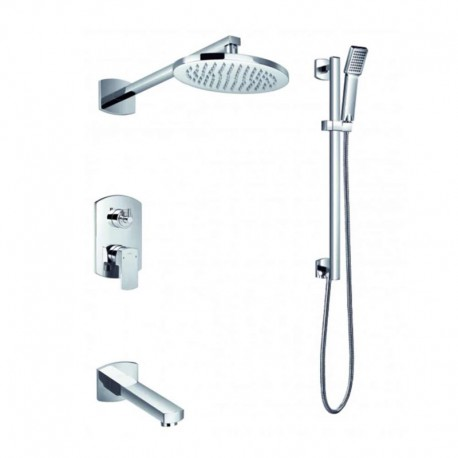 Flova Dekka Concealed Manual Mixer Valve with Overhead Shower, Bath Spout & Slide Rail Kit