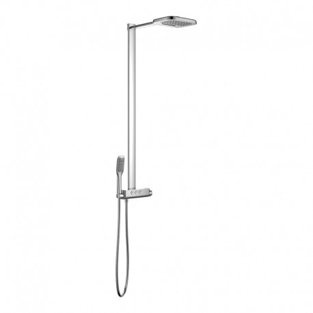 Flova Fusion GoClick Exposed Thermostatic Shower Column with Handset Kit & Dual Function Waterfall Overhead Shower