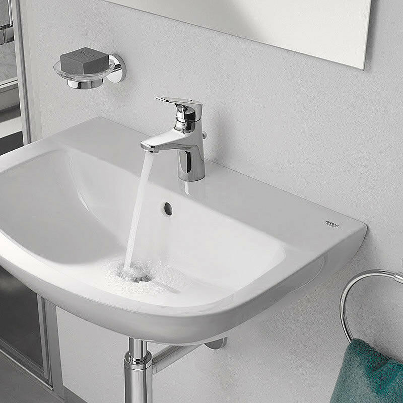 Admirable Grohe Bauflow Small Bathroom Basin Tap Pop Up Waste Full Chrome Download Free Architecture Designs Grimeyleaguecom