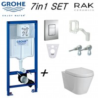 Grohe Wc Rapid Sl Frame+ Rak Ceramics Rimless Wall Hung Toilet Pan With Soft Close Seat